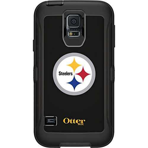 OtterBox Defender Case for Samsung GALAXY S5 - Retail Packaging - NFL Steelers (Black, Pittsburgh Steelers NFL Logo)