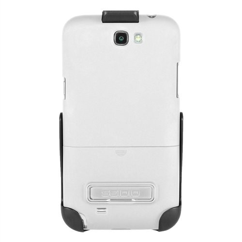 Seidio Surface Case with Metal Kickstand and Holster Combo for Samsung Galaxy Note 2, Retail Packaging, Glossed White (BD2-HR3