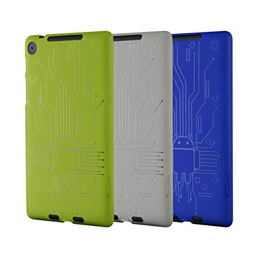 Nexus 7 FHD (2013) Case, Cruzerlite Bugdroid Circuit Bundles of 3 TPU Cases Compatible for New Nexus 7 FHD (2013) - Green/Blue