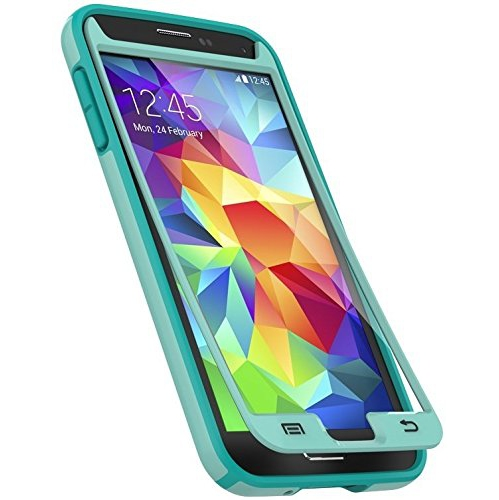 Speck Products CandyShell and Faceplate Case with Screen Protector for Samsung Galaxy S5, Aloe Green/Caribbean Blue