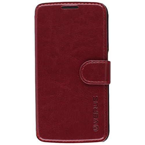 Galaxy S6 Case, Verus [Layered Dandy][Wine Red] - [Card Slot][Premium Leather Wallet][Slim Fit] For Samsung Galaxy S6