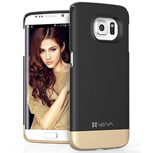 Samsung Galaxy S6 Edge Case, VENA [iSlide] Slim Fit Hard Rubber-Coated Case Cover for Samsung Galaxy S6 Edge (Black / Champagn
