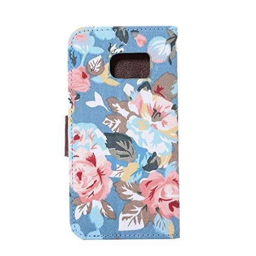 Galaxy S7 Case,Samsung Galaxy S7 Case, [Full-Protection] Beautiful Flowers Design Wallet Premium PU Leather Flip Cover with Cr