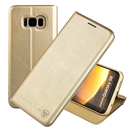 Nouske Samsung Galaxy S8 Flip Wallet Case with Credit Card Holder/Stand/Shockproof TPU Silicon Bumper, Gold