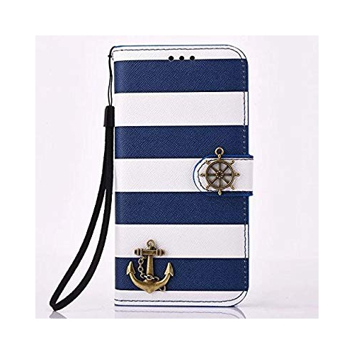 S7 Case, Stripes Anchor Rudder Luxury Synthetic PU Leather Protective Flip Folio Pouch Wallet Case Cover with Credit Card Cash