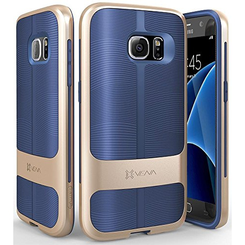 Galaxy S7 Case Vena [vAllure] Wave Texture [Bumper Frame][CornerGuard ShockProof | Strong Grip] Ultra Slim Hybrid Cover for S