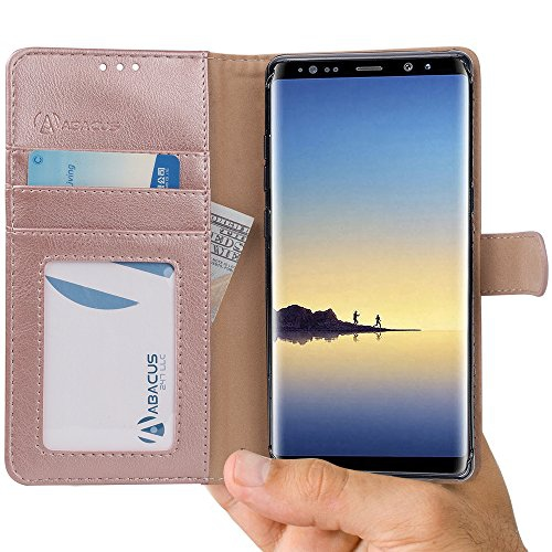 Abacus24-7 Samsung Galaxy Note 8 Case, Leather Wallet with Flip Cover, Credit Card Pockets and Stand, Maple Gold