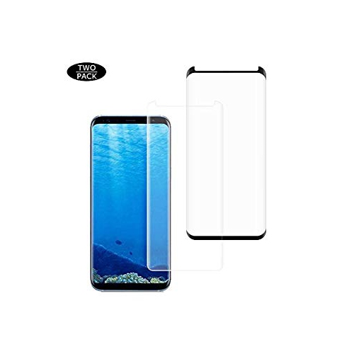 Galaxy S8 Screen Protector [2-Pack], Fanhoo 3D Curved Half Screen Case Friendly [Bubble Free] [HD Clear] [Scratch Resistant] T