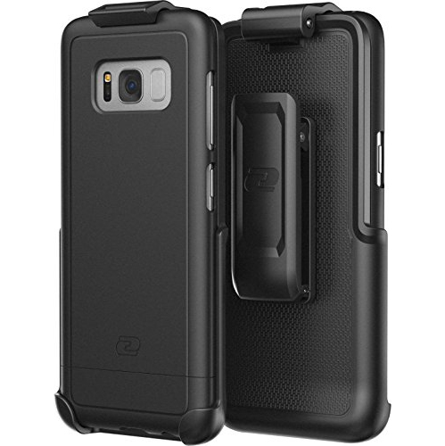 Galaxy S8 Plus Belt Case and Holster Clip (Samsung S8+) Secure-fit SlimShield Armor by Encased (Smooth Black)