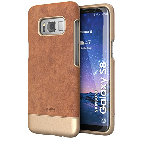Galaxy S8 Premium Vegan Leather Case - Artura Collection By Encased (Samsung S8) (Camel Brown)