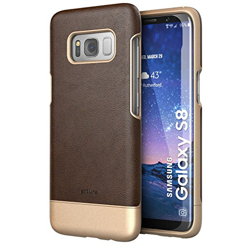 Galaxy S8 Premium Vegan Leather Case - Artura Collection By Encased (Samsung S8) (Hickory Brown)