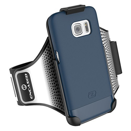 Galaxy S7 Armband & Sport Case (2 pc set) includes Encased Click-N-Go Arm Band + Hybrid Cover (Deep Blue)
