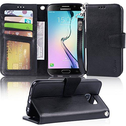 Galaxy S6 Case, Arae Samsung Galaxy S6 wallet case, [Wrist Strap] Flip Folio [Kickstand Feature] PU leather wallet case with I