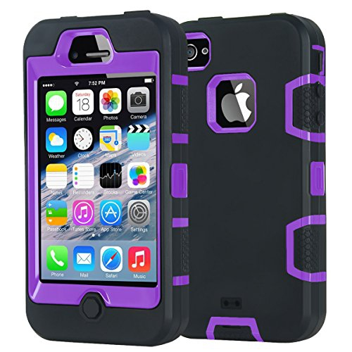 iPhone 4S Case, iPhone 4 Case, iDoer Durable Dual Layer Hybrid Case Shockproof drop proof Protective Shell Soft Hard Cover for