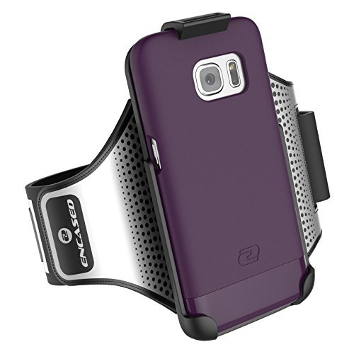 Galaxy S7 Armband & Sport Case (2 pc set) includes Encased Click-N-Go Arm Band + Hybrid Cover (Royal Purple)