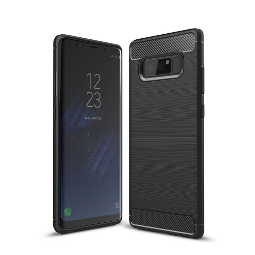 Galaxy Note 8 Case, UCMDA [Carbon Fiber Pattern] Flexible Soft TPU Cover, Drop Protection / Anti-Scratch / Durable Silicone Sh