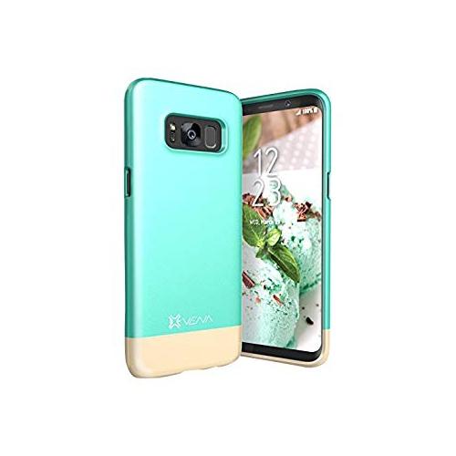Vena iSlide [Two-Tone] Dock-Friendly Slim Fit Hard Case Cover for Samsung Galaxy S8 Plus - Teal/Champagne Gold