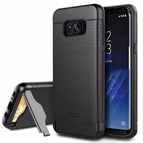 Samsung Galaxy S8 Case, EasyAcc Shockproof Slim Fit Dual Layer Protection Hybrid Cover with Kickstand and Card Slot Holder for