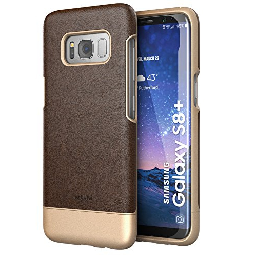 "Galaxy S8 Plus (6.2"") Premium Vegan Leather Case - Artura Collection By Encased (Samsung Galaxy S8+ 6.2"") (Hickory Brown)"