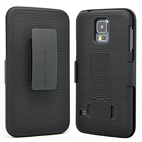 Encased Samsung Galaxy S5 Protective Case & Belt Holster w/ Kickstand (Compatible on all networks) [Lifetime Warranty]