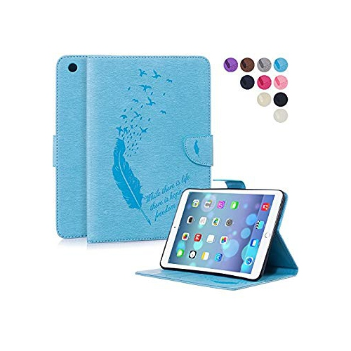 iPad Mini Case, Mini 2/3 Case, Dteck(TM) Slim Fit Embossed Feather Folio Stand Leather [Magnetic Closure] Wallet Case with Car