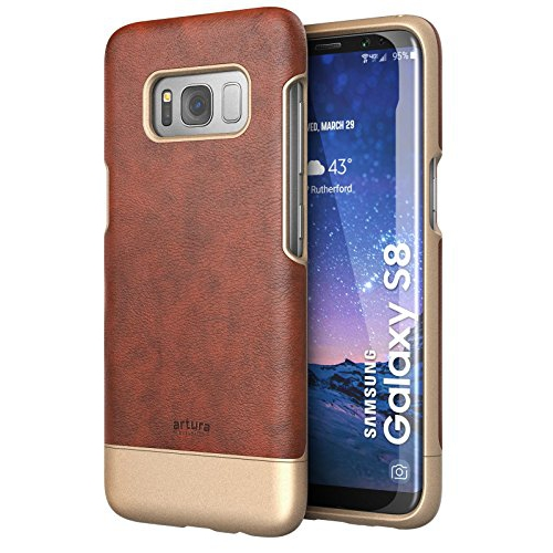 Galaxy S8 Premium Vegan Leather Case - Artura Collection By Encased (Samsung S8) (Chestnut Brown)