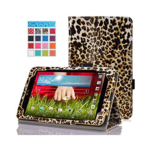 """MoKo LG G Pad V400 7.0 Case - Slim Folding Cover Case for LG G Pad V400 7"""" inch Android Tablet, Leopard BROWN (With Smart Cove"""