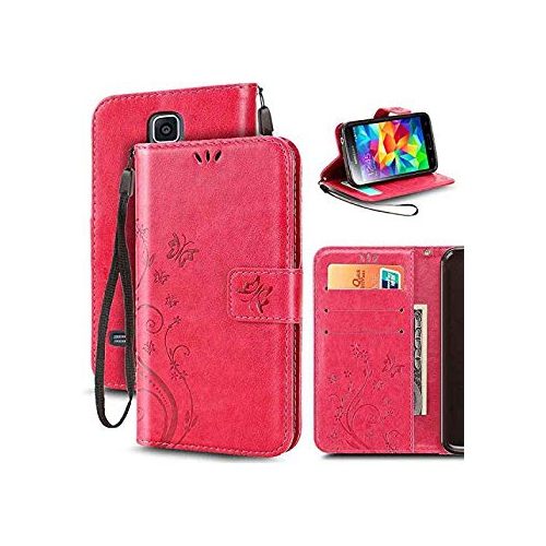 Galaxy S5 Mini Case, Korecase Premiun Wallet Leather Credit Card Holder Butterfly Flower Pattern Flip Folio Stand Case for Sam