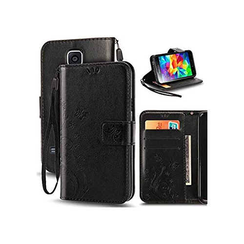 S5 Mini Case, Korecase Premiun Wallet Leather Credit Card Holder Butterfly Flower Pattern Flip Folio Stand Case for Samsung Ga