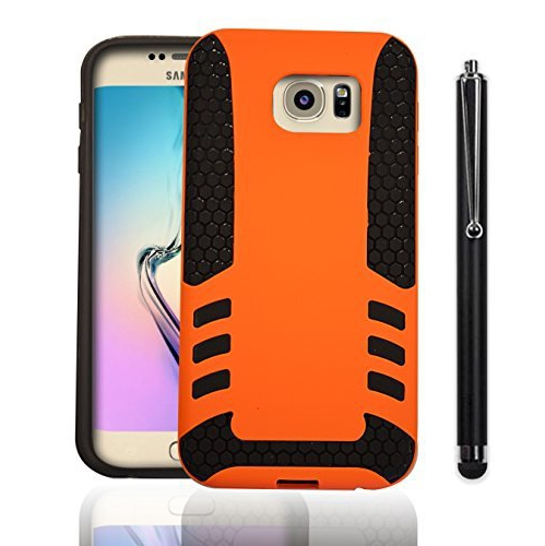 Samsung Galaxy S6 Edge Drop Shock Protection [Double thick TPU with Grill Pattern] Rocket Case Cover - Orange