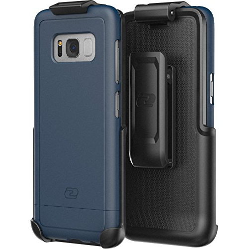Galaxy S8 Plus Belt Clip Holster Case, Smooth Touch SlimShield Armor by Encased (Samsung S8+) (Deep Blue)