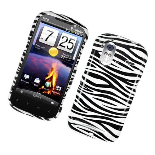 Eagle Cell PIHTCAMAZE4GG128 Stylish Hard Snap-On Protective Case for HTC Amaze 4G/Ruby, Retail Packaging, Zebra Black/White