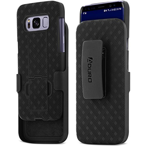 Aduro Samsung Galaxy S8 Shell Case with Holster - COMBO Series, Super Slim Shell Case with Built-In Kickstand and Swivel Belt