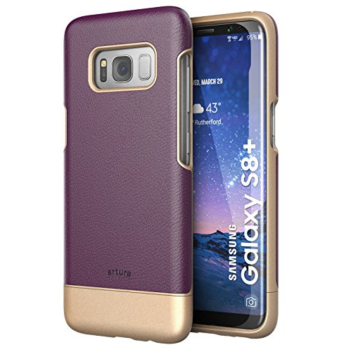 "Galaxy S8 Plus (6.2"") Premium Vegan Leather Case - Artura Collection By Encased (Samsung Galaxy S8+ 6.2"") (Merlot Purple)"