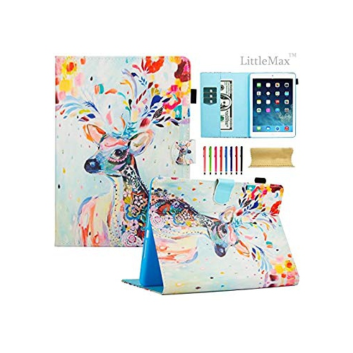 LittleMax New iPad 9.7 2017 Case Synthetic Leather [Card Slots & Pen Holder] Kickstand Magnetic Cover with Auto Wake / Sleep F