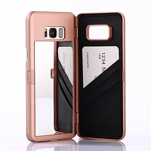 Galaxy S8 Case,Wetben Hidden Back Mirror Wallet Case with Stand Feature and Card Holder for Samsung Galaxy S8 (Rose Gold)