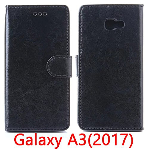 Samsung Galaxy A7 (2017) Wallet Case, Black, High Quality PU Leather Flip Case Cover, Magnetic Clip, Kickstand, with Card Slot