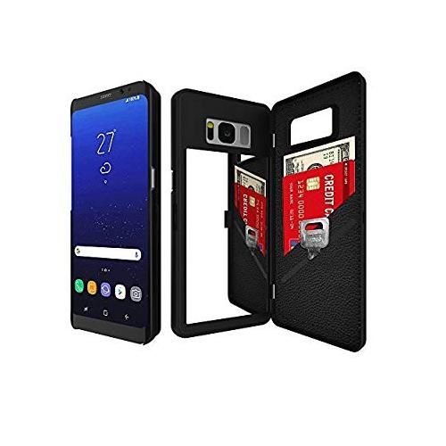 Bidear Wallet Case for Samsung Galaxy S8 Plus; Galaxy S8 Plus - Black