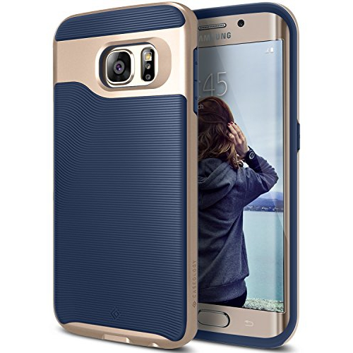Caseology Wavelength Series Galaxy S6 Edge Cover Case with Pattern Slim Protective for Samsung Galaxy S6 Edge (2015) - Navy Bl