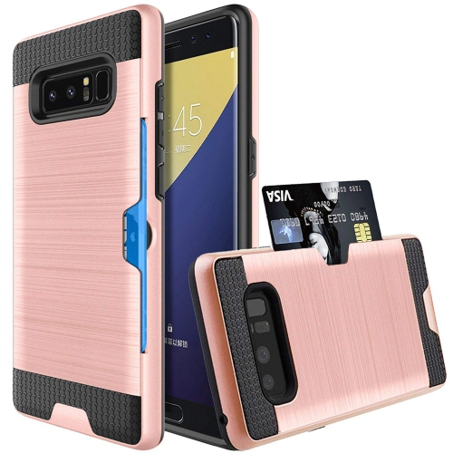 Galaxy Note 8 Case, Jwest Slim Dual Layer Hybrid Armor Note8 Wallet with ID&Credit Card Slot Holder Hard Excellent Grip Flexib