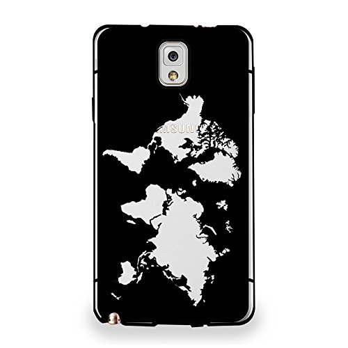 HelloGiftify Half-transparent cover, Map of the World Clear Bumper Hard Plastic Case for Samsung Note 3 (Black)