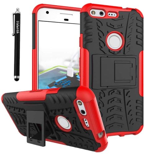Valenth Google Pixel XL Case Dual Layer Hybrid Hard Case Cover with Kickstand for Google Pixel XL 5.5 Red