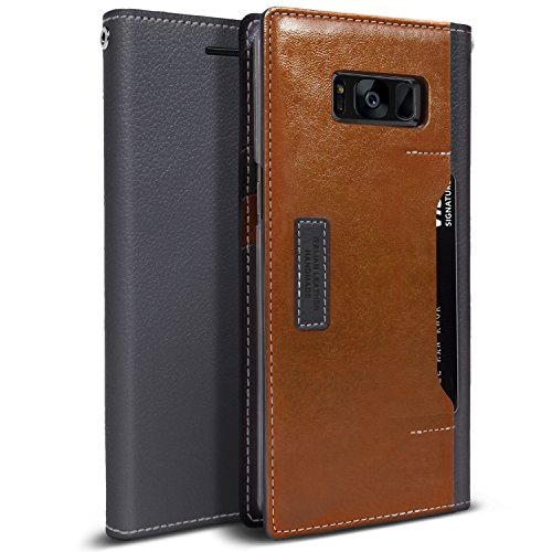 Obliq K3 Wallet Galaxy S8 Case with Three Card Slot and Foldable Leather Flip Cover for Samsung Galaxy S8 (2017) (Brown / Gray