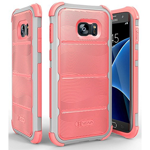 Galaxy S7 Edge Case, Vena [vArmor][Tough Wave Armor] Heavy Duty Protection [Shock Absorption] PC Bumper TPU Case Cover for Sam