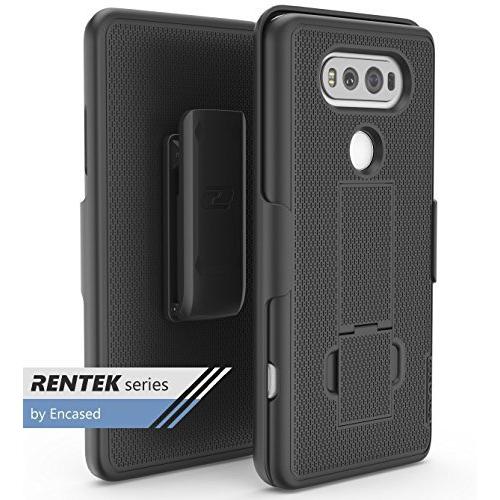LG V20 Belt Case, Encased (RenTek Series) Cover Shell w/ Secure-fit Holster Combo Clip (Smooth Black)