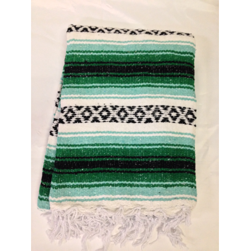 Deluxe Mexican Blanket In Striped Patterns Mint Green