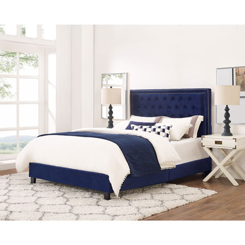 Manhattan Contemporary Upholstered Platform Bed - Queen - Navy ...
