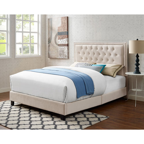 Manhattan Contemporary Upholstered Platform Bed - Queen - Cream ...