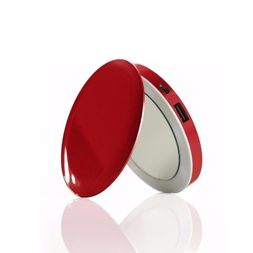 Hyper Pearl Compact Mirror Battery Pack, 3000 mAH - Red
