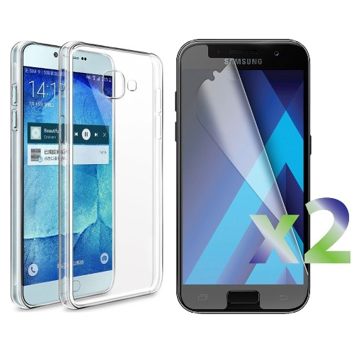 Exian Samsung Galaxy A5 2017 Screen Protectors X 2 and TPU Slim Case Transparent Clear